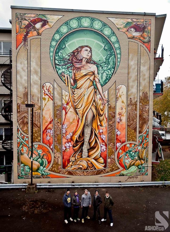 Montreal'de Bir Apartmanın Düz Duvarını Sanatla Kaplayan Artistler