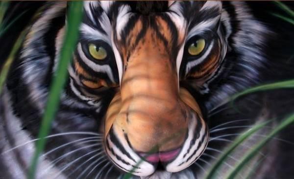 İnsan Vücudunu Boyayarak Hayvanların ve Doğal Objelerin Canlandırması (16 Çalışma)