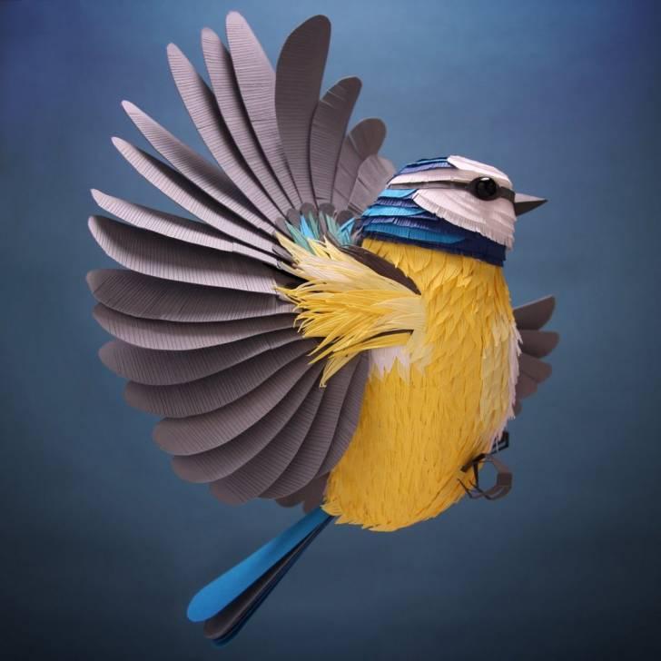 İngiliz Sanatçıdan, 3 Boyutlu Kağıt Heykellerle Kuşlar ve Çiçek Aranjmanları