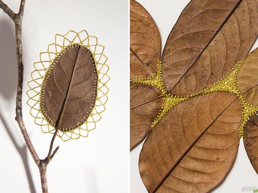Tığ ile işlenmiş 18 kırılgan, solmuş yaprak ve ortaya çıkan daha önce görülmemiş tarzda eserler