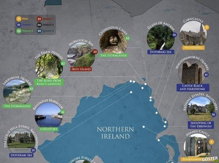 Game of Thrones Sahnelerini Gerçek Hayatta Ziyaret Edelim (İnfografik ve Fotoğraflar)