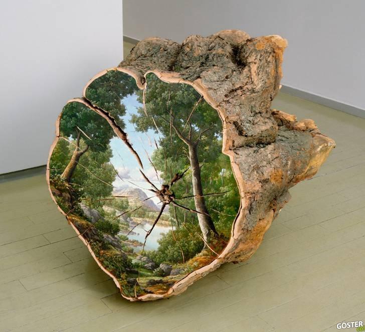 Alison Moritsugu'nun Kesme Odunların Yüzeyine Boyadığı Muhteşem Manzaralar