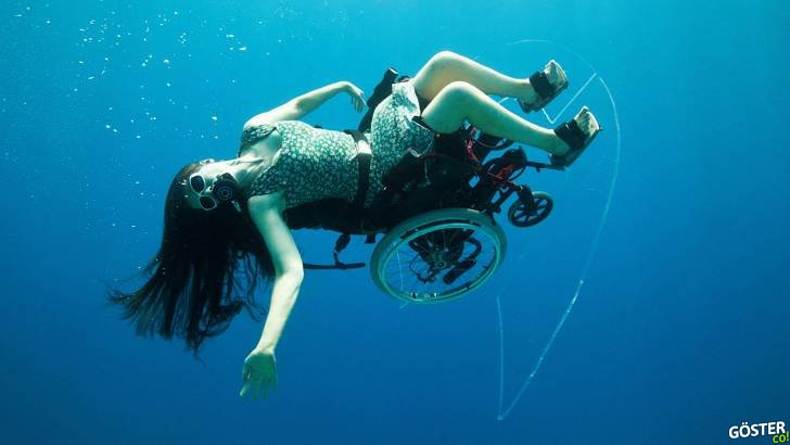 Tekerlekli sandalyede açık deniz dalışı