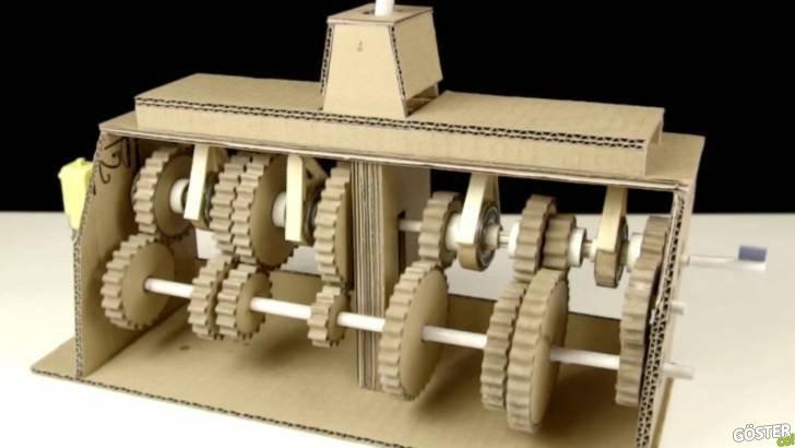 Kartondan yapılan, 7 ileri 1 geri çalışır vites kutusu modeli ile vites çalışma prensibini öğrenin