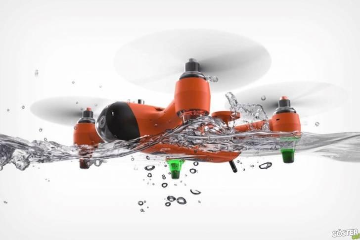 Su sporcularının rahatça 4K video kaydı yapabileceği hem uçabilen hem de yüzen drone