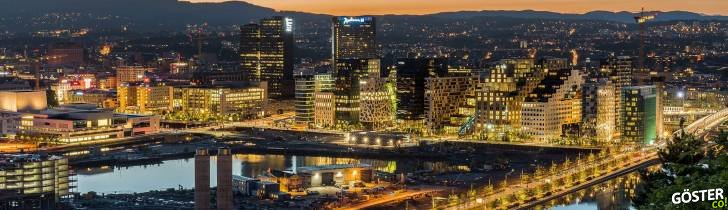 City lights in Oslo at night