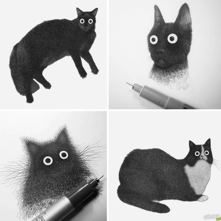 Luis Coelho'dan yüzlerce çizgiden oluşan kabarık kedicikler