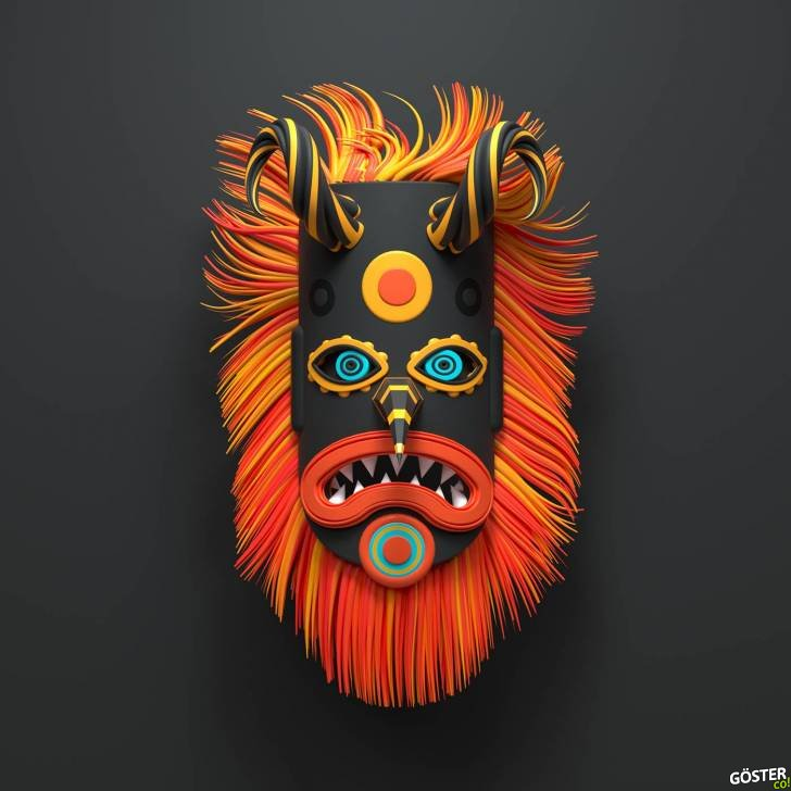 Geleneksel Kukeri maskelerinin muhteşem 3D renderları