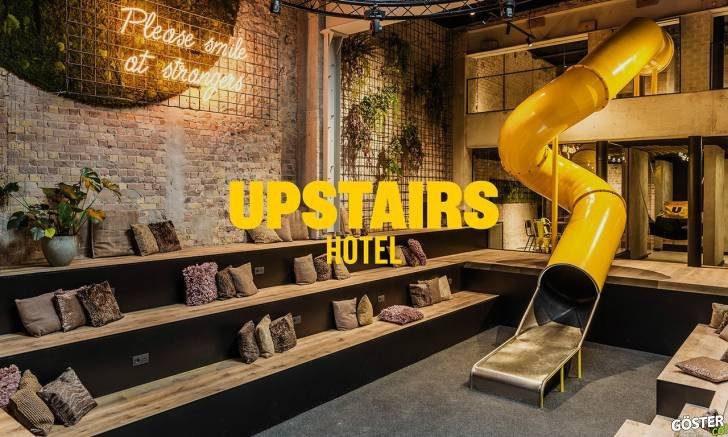 Skinn Branding Agency'den Upstairs Hotel tasarımı: Sarı rengin ve tipografinin etkin kullanımı