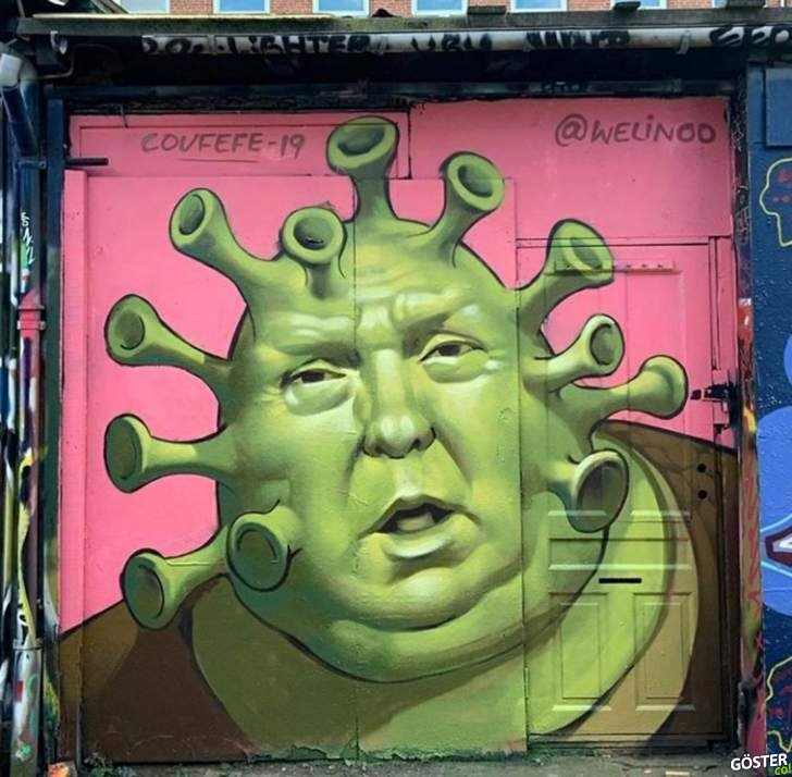 Dünyanın dört bir yanından, koronavirüs temalı 15 sokak çizimi