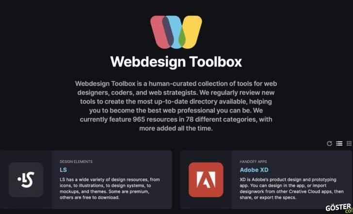 Tasarımcılar, kodcular ve web stratejistleri için bir araç koleksiyonu: Webdesign Toolbox