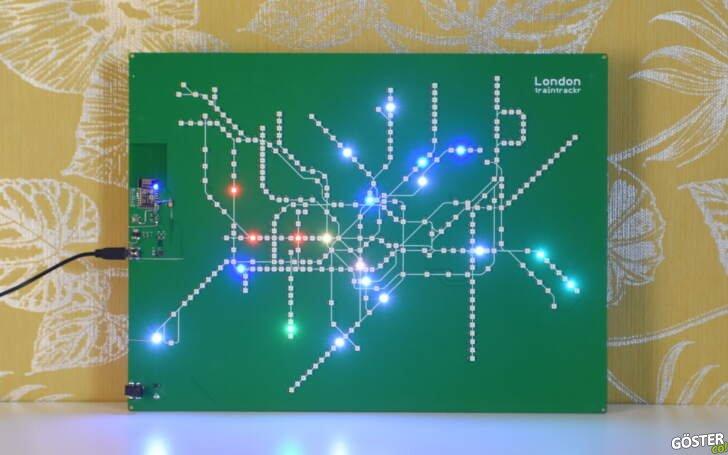 Çalışan bir devre kartından yapılmış bu canlı Londra metro haritasına gözatın
