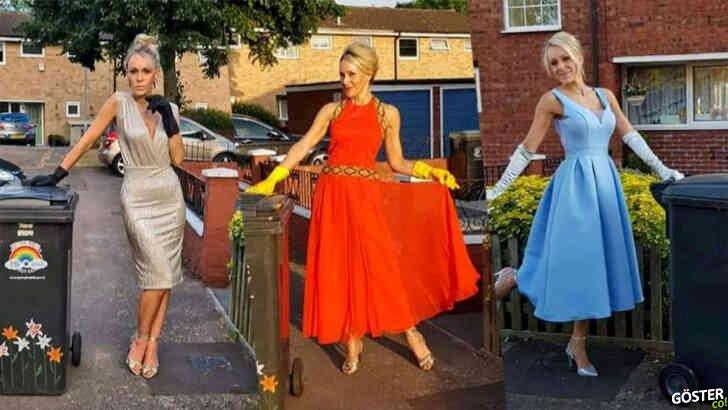 Çöpü çıkarmak için 20 hafta boyunca lüks elbiseler giyen kadın