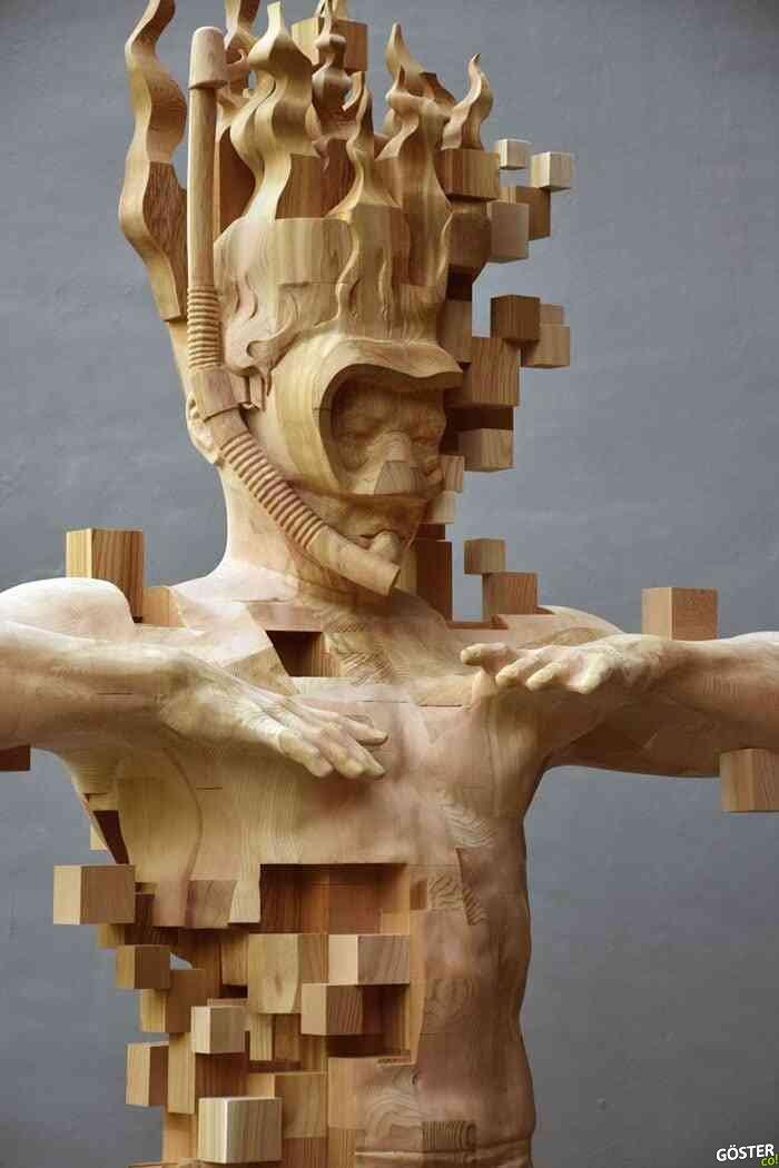 Tayvanlı sanatçıdan, bilgisayar hatasına benzeyen heykeller